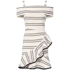 Rebecca Vallance Women's Cut Out Back Striped Ruffle Dress ($498) ❤ liked on Polyvore featuring dresses, zipper dress, asymmetrical striped dress, white cut out dress, white day dress and rayon dress