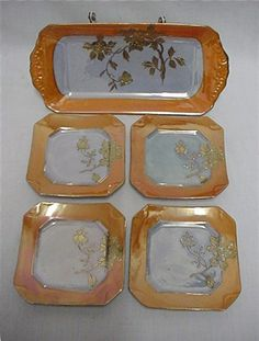 Porcelain, Lusterware Art Deco service for 4,  5 piece luster set, perfect for luncheons,desserts, use for ice cream, cake, pastries, even bread.