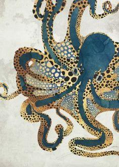 Displate Poster Underwater Dream VI octopus See amazing artworks of Displate artists printed on metal. Easy mounting, no power tools needed. Animal Drawings, Art Drawings, 4 Image, Gold Watercolor, Tattoo Watercolor, Canvas Prints, Art Prints, Ocean Art, Kraken
