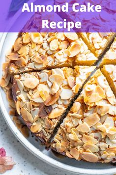 This Almond Cake Recipe is a light, moist cake that is easy to make. The honey adds a touch of sweetness to the cake and pairs nicely with the silvered almonds. Bring this cake to a brunch, serve it for a special occasion or as a sweet treat for your family. Candied Walnuts, Honey Almonds, Sliced Almonds, Crockpot Recipes, Chicken Recipes, Cooking Recipes, Easy Almond Cake Recipe, Healthy Dinner Recipes, Healthy Snacks