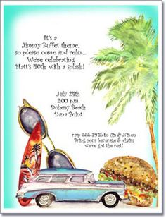 Cheeseburger Beach Party Invitation, Luau Invitations