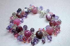 Gemstone Cluster Bracelet Bohemian Style by CaveGemstones on Etsy, $52.00 #crystal #cluster #bracelet