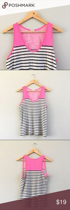J Crew Neon Pink Striped Tank Super cute color block striped tank top from J. Crew, perfect for your warm weather wardrobe! Pair with white shirts or skinny jeans for a casual vacay look. Bust: 15.5in, shoulder to hem: 25in, 100% cotton. Gently worn, great condition! J. Crew Tops Tank Tops