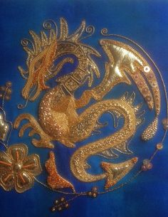 Goldwork Dragon Such a Joy Bead Embroidery Patterns, Gold Embroidery, Crewel Embroidery, Vintage Embroidery, Embroidery Designs, Tambour Beading, Dragon Pictures, Gold Work, Needlework