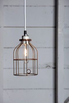 Vintage Rusted Wire Cage Light