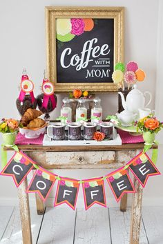 "Shower mom with dozens of gifts this Mother's Day. We love this bright and happy ""Coffee with Mom"" brunch featuring Tiny Prints gifts and more. Mothers Day Event, Mothers Day Decor, Mothers Day 2018, Mothers Day Brunch, Happy Mothers Day, Mother Day Gifts, Gifts For Mom, Happy Coffee, Coffee Break"