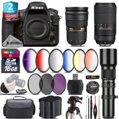 Nikon D810 DSLR  AFS 24-70mm 2.8G  AFP 70-300mm E  Extra Battery - 16GB Kit