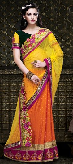 145545: Embroidered Sarees, Net, Viscose, Stone, Zari, Border, Thread, Machine Embroidery, Resham.  #saree #floral #patchwork #colorblock #wedding #bridal #onlineshopping #partywear #Indian
