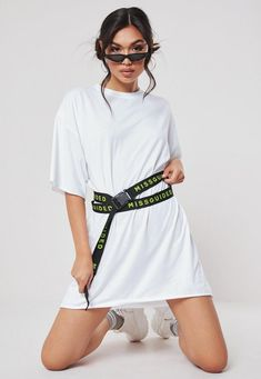 White Oversized MSGD Belted T Shirt Dress - Slogan T Shirt - Ideas of Slogan T Shirt - Missguided White Oversized Msgd Belted T Shirt Dress Oversized Tshirt Outfit, Oversized White T Shirt, White Tshirt Outfit, Oversized Dress, White Tees, Hoodie Outfit, Hoodie Dress, Modest Casual Outfits, Basic Outfits
