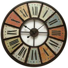 Aspect : Matériau principal = Fer ? Dimensions : Diamètre (en cm) = 75,00 ? Autres caractéristiques : Poids (en kg) = 3,40 ? Harmonisant des traits originaux, la pendule multicolore métal 75cm embellit via une silhouette à la fois antique et moderne...