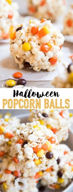 Halloween Popcorn Balls are delicious gooey marshmallow popcorn balls stuffed full of your favorite Halloween candies, perfect for a sweet and salty, crunchy treat! Gourmet Popcorn, Best Popcorn, Homemade Popcorn, Popcorn Recipes, Popcorn Snacks, Party Snacks, Candy Recipes, Marshmallow Popcorn, Candy Popcorn