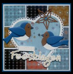 (EK) Prettige Feestdagen!! Christmas Projects, Christmas And New Year, Xmas Cards To Make, Marianne Design Cards, Paper Crafts, Diy Crafts, Easel Cards, Bird Cards, Scrapbook Sketches