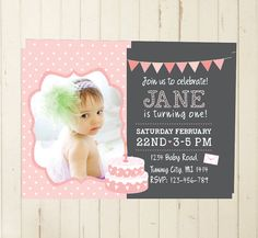 photo invitation  first birthday  girl pink POLKA DOTS por RebeccaDesigns22, $11.99
