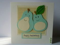 Card for anniversary with cute pears detail