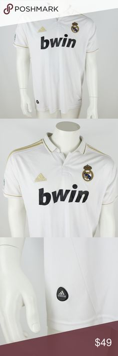 "Adidas Real Madrid Ronaldo Jersey Adidas ClimaCool Soccer Jersey Men's size Medium White with Gold and Black  Short Sleeve Real Madrid Ronaldo Inventory# D3  Measurements: Armpit to Armpit: 22"" Shoulder to Hem: 28"" adidas Shirts"