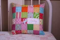CUTE! Raid your scrap stash, and personalize a pillow for a quick gift