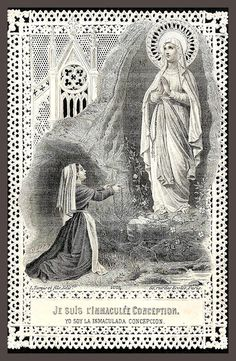 Our Lady of Lourdes.  Old lace holy card.