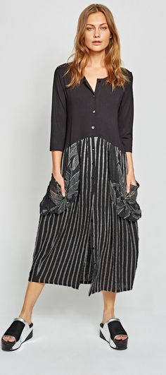 Alembika Palm Print Pinstripe Dress