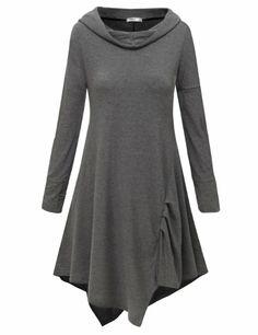 Amazon.com: Doublju Hooded Tunic Dress with Unbalanced Flare Hem Line (US-M): Clothing