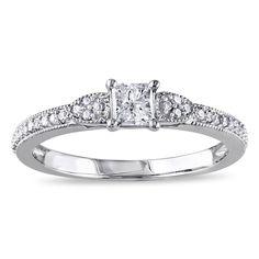 Miadora 10k White Gold 1/2ct TDW Diamond Ring (G-H, I2-I3) (Size 7.5), Women's
