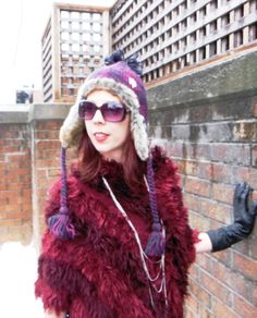 I got this hat for $5! It so warm. Read more about this look!: http://www.thepurplescarf.ca/2014/01/Fashion-Style.Outfit-Winter.Warm-Fuzzy-Feeling.html #fashion #style