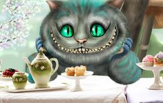 so, this is Cheshire Cat in Tim Burton's style. Sorry, but i can't to draw table and ware, they are from original photo. steps: ('ctrl' + '-' if you want to see steps ...