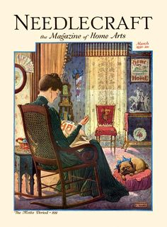 """Needlecraft Magazine, March 1930. Victorian, embroidery, """"Home Sweet Home."""""""