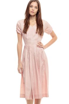Tea Length Dress 50s SILK Party 60s Pink PLEATED by ShopExile