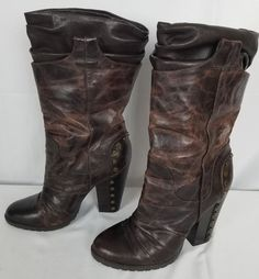 Jessica Simpson Brown Distressed Studded High Heel Mid Calf Boots Size 10 EUC #JessicaSimpson #MidCalfBoots Leather High Heels, Gianni Bini, Mid Calf Boots, Cowboy Boots, Riding Boots, Heeled Boots, Brown Leather, Size 10, Best Deals