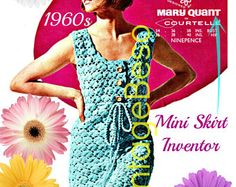 Famous Woman Designer Vintage 1960s Dress Crochet Pattern Designed by MINI Skirt INVENTOR Mary Quant Instant Download PDF Pattern
