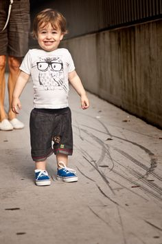 Wise owl t-shirt byMinti Kids Clothing; shorts from a friend; shoes by Vans from Kido Store.