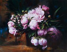 """Petals & Drops"" Acrylic Painting of Peonies"