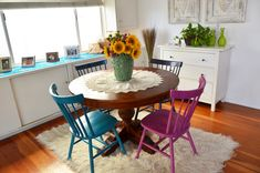 DIY colorful dining chairs for an eclectic, mis-matched look using Cabot Premium Wood Finish - watch the how-to video here: http://www.youtube.com/watch?v=-dB5oxwanAI @cabotstains @Kiersten Hathcock of Mod Mom Furniture
