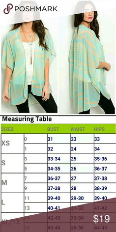 "New Mint and Taupe Kimono Cardigan Top Made in the USA  100% Polyester  Length 36"" Fits loose Interi Tops"