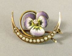 Antique Enamel Pansy Pin 18K Gold Flower Moon Pearls