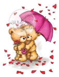 Wild Rose Studio - Clear Stamp - Teddy - Raining Roses