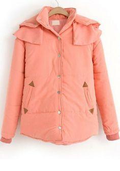 Pink Patchwork Pockets Buttons V-neck Polyester Padded Coat