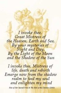 Invoking the goddess Hekate I invoke thee, Great Mistress of the Heaven, Earth and Sea, crossroads...