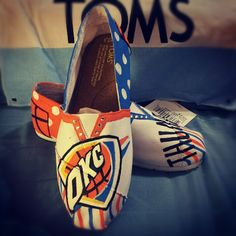 Shop for on Etsy, the place to express your creativity through the buying and selling of handmade and vintage goods. Thunder Game, Thunder Strike, Painted Toms, Painted Canvas Shoes, Hand Painted, Okc Basketball, Bob Shoes, White Toms, Sports Mom