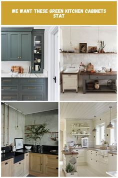 kitchen cabinet color—Emily Henderson Design Cuisine Campagne We Want These Green Kitchen Cabinets Stat