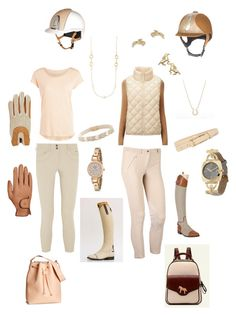 """Nude Equestrian"" by equestrian4life ❤ liked on Polyvore featuring Ariat, Uniqlo, Pieces, Brooks Brothers, FOSSIL, The Limited, Isaac Mizrahi, BeiBaoBao, Roeckl and H&M"
