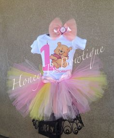 Pink Winnie the Pooh birthday tutu outfit on Etsy, $37.99