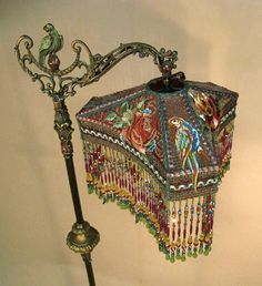 1800s Victorian Beaded Floor Lamp | with one-of-a-kind beaded victorian lamp shades