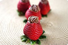 Mousse filled strawberries