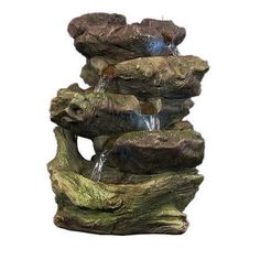5-Step Rock Falls Tabletop Fountain with LED Lights
