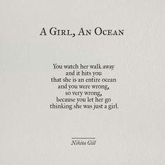 A girl, an ocean