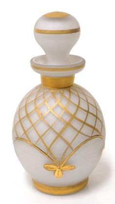 A pretty white cased glass cologne bottle with gold decorations. | eBay!