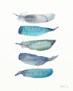 Watercolor Feather Art Print by Annemette Klit. Watercolor artwork with a boho feeling with beautiful turquoise-blue colors. The art print looks very much like an original watercolor paint Watercolor Feather, Feather Art, Watercolor Artwork, Bird Feathers, Poster Art, Painting Inspiration, Art Drawings, Illustration Art, Pastel
