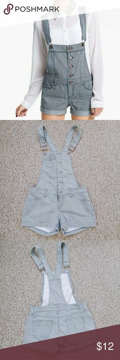 Railroad overall shorts Overall shorts with gray and white stripe pattern.  Cute but unfortunately don't fit me! Only worn twice.  Feel free to make an offer or ask a question!  *the model picture is for the look reference - it is not the same product Mossimo Supply Co. Shorts #modelrailroadsupplies