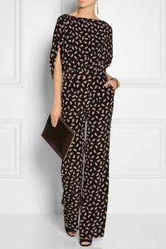 Diane von Furstenberg Combi-pantalon en satin de soie à imprimé Lucy NET-A-PORTER.COM
